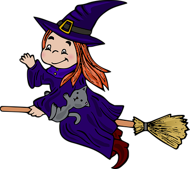 Witch, Broom, Cat, Hat, Magic, Woman, Halloween, Spooky