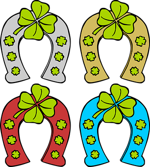 Horse Shoes, Shoe, Hoof, Iron, Metal, Clover Leaves