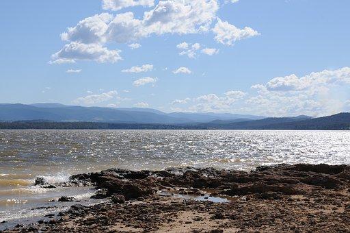 Lake, Rocks, Coast, Water, Mountains, Mountain Range