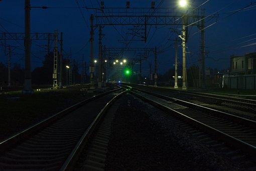 Railway, Night, Lights, Railroad, Rail, Rail Tracks