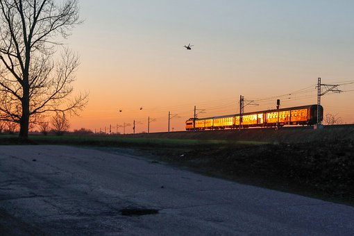 Sunset, Train, Helicopter, Tree, Railway, Railroad