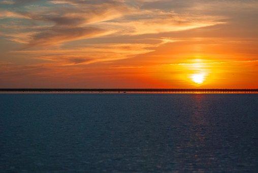 Sunset, Salt Lake, Sun, Sky, Dusk, Twilight, Horizon
