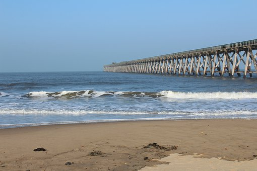 Beach, Pier, Coast, Shore, Seashore, Sand, Ocean, Sea