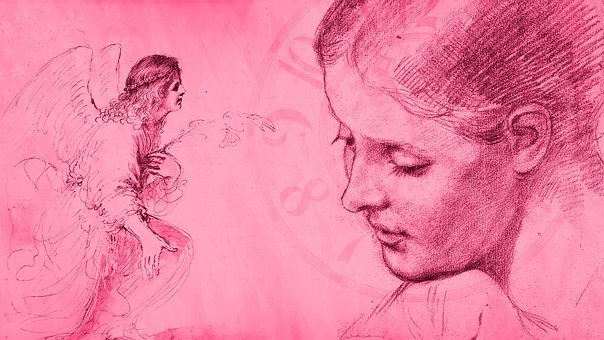Angel, Girl, Clock, Time, Watch, Pink, Sketch, People
