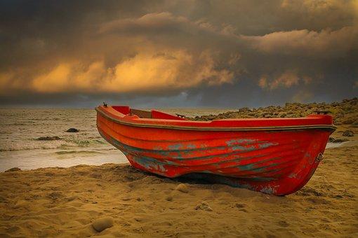 Boat, Beach, Sand, Sea, Ashore, Rowboat, Seashore