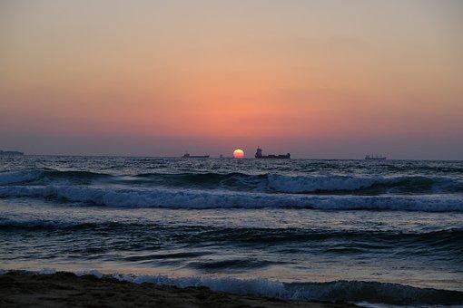 Sunset, Sea, Beach, Waves, Ships, Ocean, Seascape