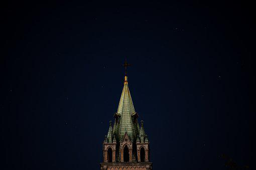 Night, Cathedral, Church, Landmark, Sky, Lights, City