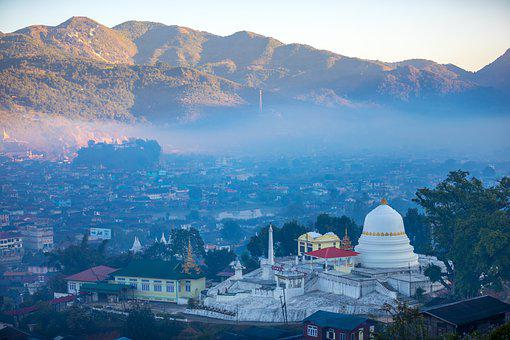 Temple, City, Fog, Foggy, Haze, Pagoda, Buddhist Temple