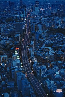 City, Night, Bird's Eye View, Aerial View, Cityscape