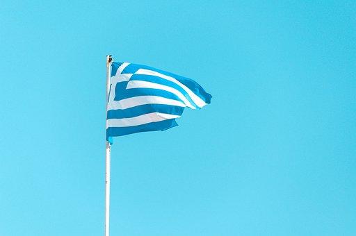 Greece, Flag, Pole, Blue And White