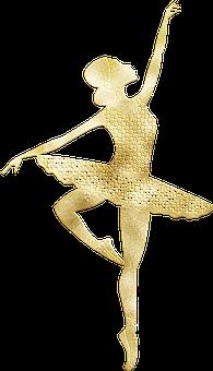 Ballerina, Ballet, Gold Foil, Dance, Dancer