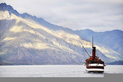 Mountains, Boat, River, Water, Fishing Boat, Boating