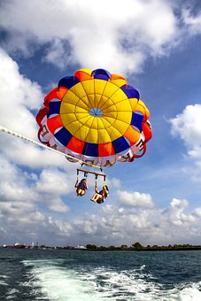 Parachute, Ocean, Parasailing, Beach, Sea, Vacation
