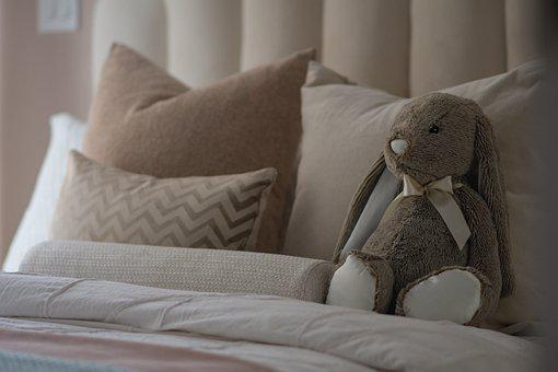 Bedroom, Bed, Stuffed Toy, Plush Toy, Pillows, Room
