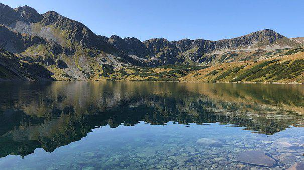 Mountains, Rocks, Lake, Reflection, Trail, Autumn