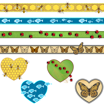 Ribbons, Hearts, Scrapbooking, Butterflies, Fish, Bees