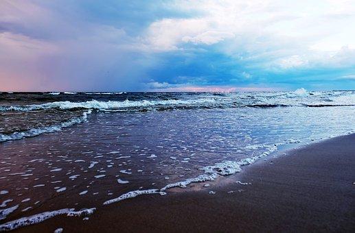 Sunset, Beach, Sea, Ocean, Seascape, Seashore, Shore
