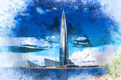 Skyscraper, Tower, Building, Glass, River, Urban
