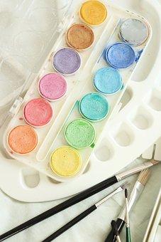 Watercolour, Aquarelle, Paint Brushes, Paint, Palette