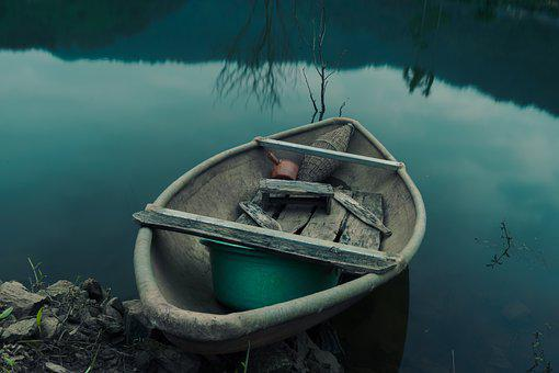 Lake, Boat, Abandoned, Old, Wooden Boat, Small Boat