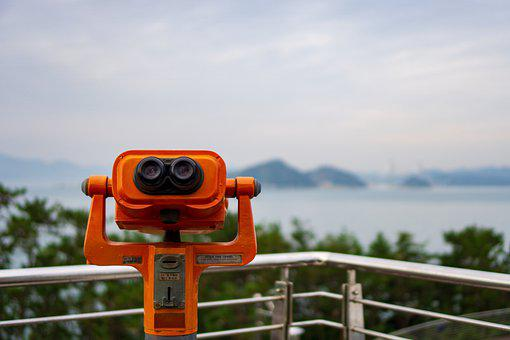 Telescope, Binoculars, Gazebo, View, Mountains, Lake