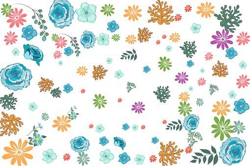 Flowers, Leaves, Background, Floral, Bloom, Blossom