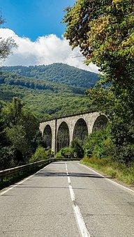 Bridge, Building, Road, Highway, Structure, Mountains