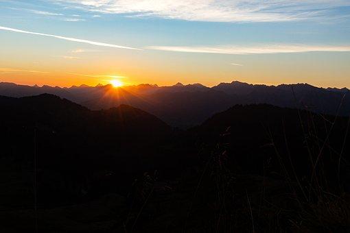 Mountain, Sunrise, Sun, Clouds, Alpine