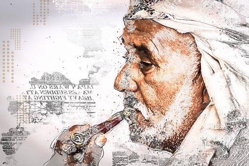 Man, Pipe, Face, Arabs, Orient, Arabic, Muslim, Smoking