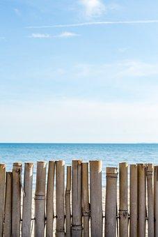 Bamboo, Fence, Coast, Sea, Sky, Horizon, Warm, Sand
