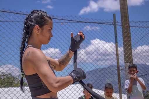 Fighter, Hand, Wrap, Training, Girl Boxer