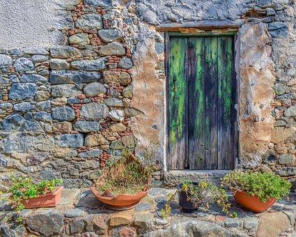 Door, House, Masonry, Stone Works, Wooden Door