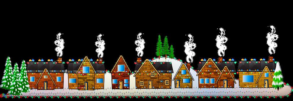 Christmas, Houses, Christmas Lights
