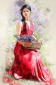 Woman, Model, Portrait, Female, Nature, Basket