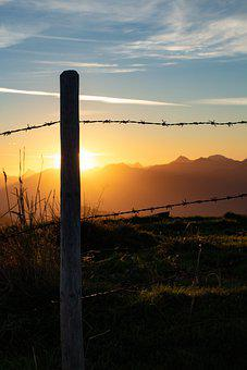 Fence, Sunrise, Mountains, Sunset, Dusk, Dawn