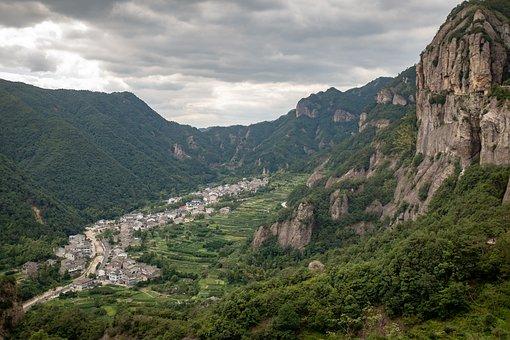 Village, Valley, Mountains, Mountainous, Mountain Range