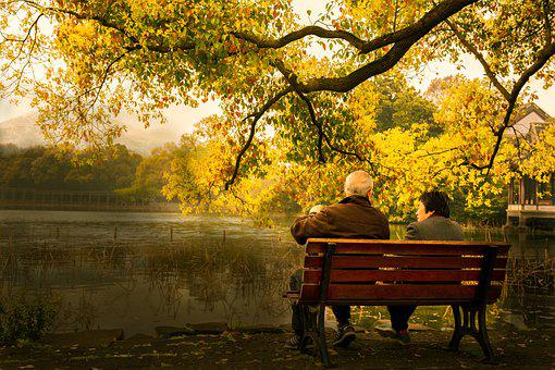 Lakefront, Couple, Bench, Old Couple, Wooden Bench