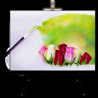 Painting, Easel, Artwork, Flowers, Paintbrush, Paint