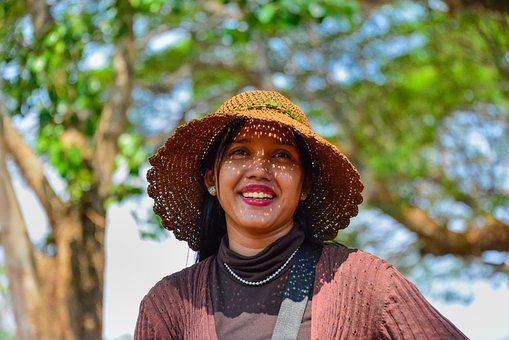 Woman, Hat, Smile, Indigenous, People, Cambodia