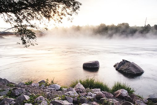 River, Rocks, Mist, Haze, Fog, Bridge, Trees, Sunrise
