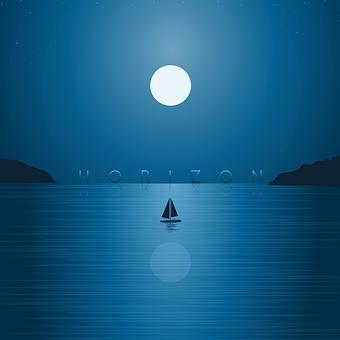 Sea, Moon, Horizon, Boat, Sailing Boat, Sailboat
