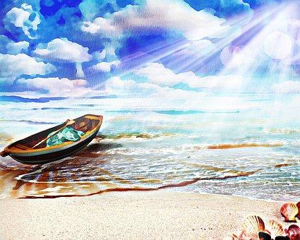 Beach, Boat, Watercolor, Seashells, Waves, Sand, Coast