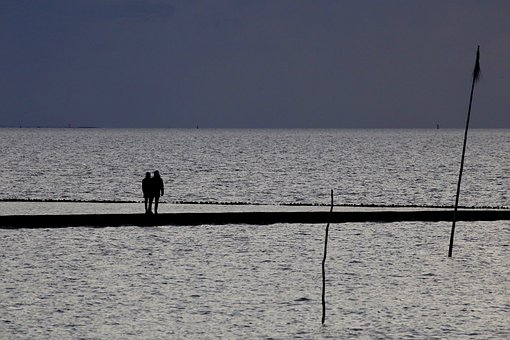 Couple, Sea, Silhouette, Lovers, Together, Relationship