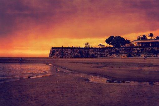 Beach, Sand, Sunset, Bank, Sea, Water, Sky, Exotic