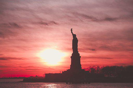 Sunset, Silhouette, Statue Of Liberty, Backlighting