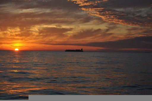 Ship, Sunset, Ocean, Sky, Clouds, Cumulus, Waves