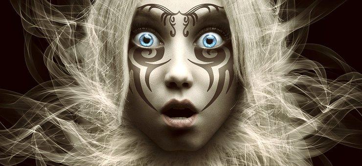 Woman, Tattoo, Fantasy, Girl, Female, Face, Head