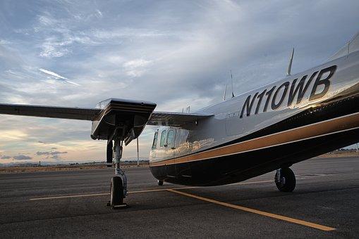 Aircraft, Runway, Propeller, Aero Commander, Sky