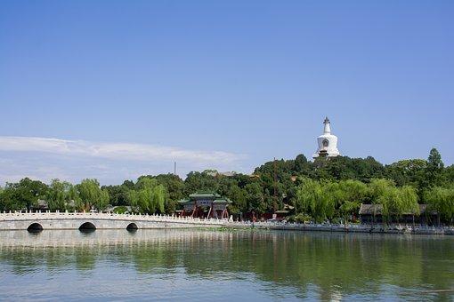 Bridge, Lake, White Pagoda Temple, Pagoda, Temple