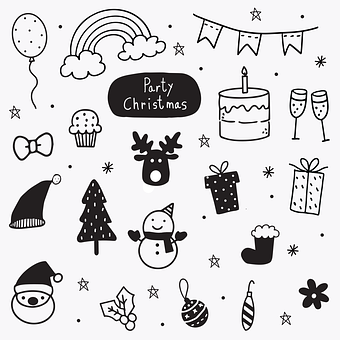 Doodles, Christmas, Icons, Christmas Icons